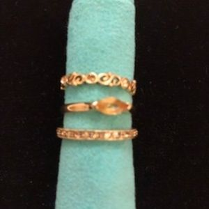 "Vintage Stackable Costume Monet ""Citrine""  Rings"